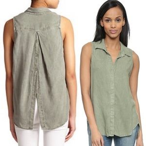 Cloth and Stone Button Back Front Sleeveless Tank